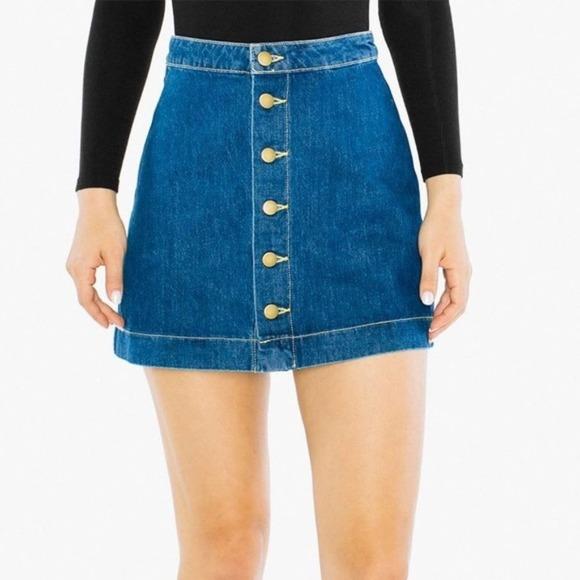 NWT American Apparel Denim ALine Button Mini Skirt